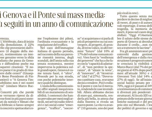 L'immagine di Genova e il Ponte sui mass media: ecco i temi più seguiti in un anno di comunicazione